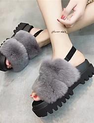 Feminino-Sandálias-ConfortoPreto Cinzento-Outras Peles de Animais-Casual