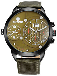 SKONE Men's Fashion Watch Chinese Quartz Leather Band Black Blue Green
