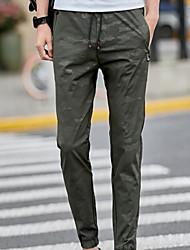 Hombre Activo Tiro Alto Microelástico Chinos Pantalones,Delgado Un Color