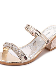 Women's Sandals Summer T-Strap Leatherette Outdoor Dress Casual Chunky Heel Rhinestone Sliver Gold Walking