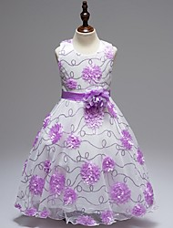 Ball Gown Short / Mini Flower Girl Dress - Organza Jewel with Appliques Flower(s) Sequins