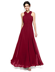 A-Line Halter Floor Length Chiffon Bridesmaid Dress with Sash / Ribbon Ruching Criss Cross by LAN TING BRIDE®