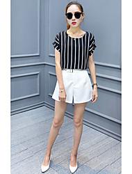 Femme simple Street Chic Taille Basse Short Pantalon,Droite Couleur Pleine