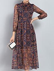 Damen Hülle Kleid-Lässig/Alltäglich Einfach Druck Rundhalsausschnitt Maxi Langarm Seide Sommer Mittlere Hüfthöhe Mikro-elastisch Dünn