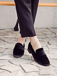 Women's Heels Spring Light Soles Fleece Casual Low Heel Chunky Heel Dark Brown Black