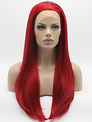 Heat Resistant Synthetic Lace Front Wigs Silky Straight Hair Red Color Fiber Hair Wig for Woman