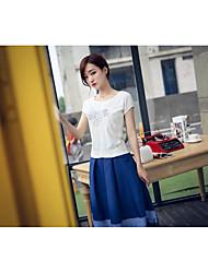 Damen einfarbig Einfach Ausgehen T-Shirt-Ärmel Rock Anzüge,Rundhalsausschnitt