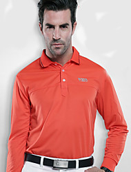 Men's Long Sleeve Golf Tops Breathable Quick Dry Sweat-wicking Comfortable Orange Black Golf Leisure Sports