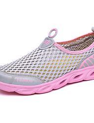 Feminino Tênis Conforto Solados com Luzes Tule Tecido Primavera Verão Ar-Livre Casual Para Esporte Salto Baixo Roxo Fúcsia Cinzento Claro