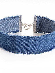 Women's Choker Necklaces Denim Fabric Alloy Unique Design Jewelry For Party Daily Casual Office & Career Beach 1 pc