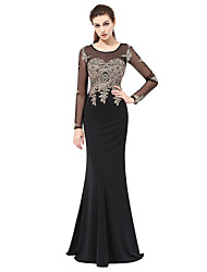 Mermaid / Trumpet Illusion Neckline Floor Length Lace Formal Evening Dress with Appliques by Sarahbridal