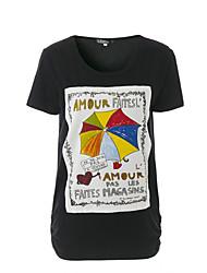 Damen Solide Druck Buchstabe Street Schick Anspruchsvoll Ausgehen Lässig/Alltäglich T-shirt,Rundhalsausschnitt Sommer Kurzarm Baumwolle