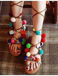 Damen-Sandalen-Lässig-PUKomfort-Regenbogen