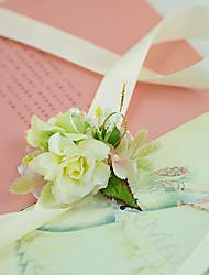 Yuxiying Satin Wrist Corsages Wedding Rose Flowers Light Yellow