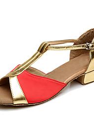 Women's Dance Shoes Satin Latin Heels Low Heel Practice Customizable