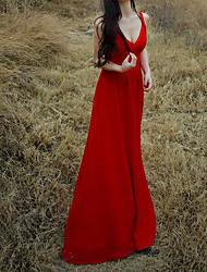 Damen Swing Kleid-Strand Solide V-Ausschnitt Maxi Ärmellos Seide Sommer Mittlere Hüfthöhe Mikro-elastisch Dünn