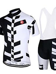 KEIYUEM Maglia con salopette corta da ciclismo Unisex Maniche corte Bicicletta Set di vestitiAsciugatura rapida Anti-polvere Indossabile