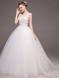 Ball Gown Wedding Dress - Glamorous & Dramatic Chapel Train Scoop Tulle with Appliques Flower Lace
