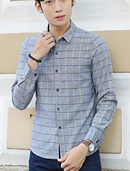 Men's Casual/Daily Simple Spring Shirt,Check Shirt Collar Long Sleeve Cotton Thin