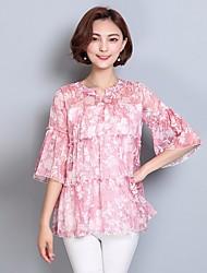 Dames Eenvoudig T-shirt,Uitgaan Bloemen Ronde hals Driekwart mouw Overige