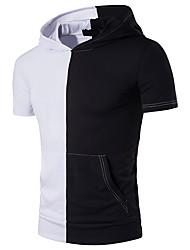 Hombre Chic de Calle Casual/Diario Camiseta,Con Capucha Bloques Manga Corta Poliéster