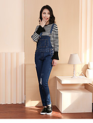 Women's High Rise High Elasticity Jeans Overalls Pants,Cute Simple Loose Solid