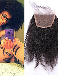 4B 4C Afro Kinky Curly 4x4 Lace Closure With Baby Hair FreeMiddle/Three Part Malaysian Remy Hair  100% Human Hair