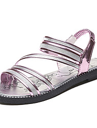 Women's Sandals Summer Comfort PU Outdoor Low Heel Buckle Rose Pink Silver Black Walking