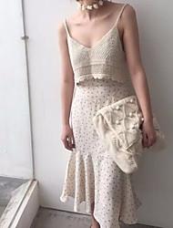 Mujer Midi Faldas,Línea A Un Color