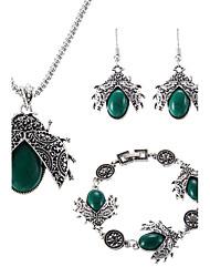 lureme® Jewelry Set Multi-stone Bohemian Adjustable Luxury Sideways Simple Style Gem Chrome Animal Shape 1 Necklace 1 Pair of Earrings 1 Bracelet