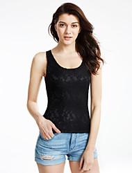 Damen Solide Sexy Lässig/Alltäglich Tank Tops,U-Ausschnitt Sommer Ärmellos Weiß / Schwarz Dünn