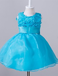 Ball Gown Knee-length Flower Girl Dress - Polyester Organza Satin Jewel with Appliques Bow(s) Sash / Ribbon