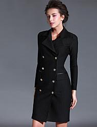 Baoyan® Femme Col en V Manche Longues Au dessus des genoux Robes-14561