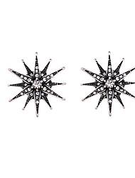 Brincos em Argola Cristal Personalizado Euramerican Estrela Branco-Preto Jóias Para 1 par