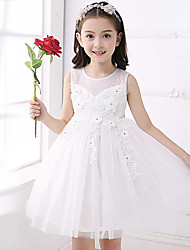 Ball Gown Short / Mini Flower Girl Dress - Cotton Satin Tulle Jewel with Appliques Bow(s) Crystal Detailing Flower(s) Sash / Ribbon