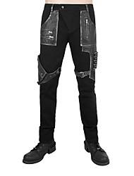 Masculino Punk & Gothic Cintura Baixa Micro-Elástico Chinos Calças Esportivas Calças,Delgado Color Block,Patchwork