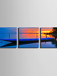 E-HOME Stretched Canvas Art Blue Boat on The Lake Decoration Painting Set Of 3