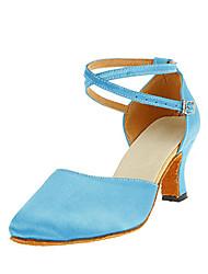 Chaussures de danse(Bleu) -Personnalisables-Talon Personnalisé-Satin-Modernes