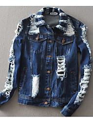 Veste en jean Femme,Couleur Pleine Décontracté / Quotidien simple Hiver Manches longues Col châle Normal Coton