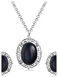 Earrings Set Necklace Pendants Black Gemstone Euramerican Fashion Gem Rhinestone Alloy Oval 1 Necklace 1 Pair of Earrings ForWedding