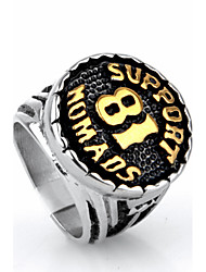Men's Ring Statement Rings Euramerican Fashion Punk Hip-Hop Personalized Rock Titanium Steel Circle White Gold Jewelry For Party
