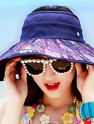 Women Summer Shade Lace Print Beach Sunscreen Empty Top Bike Folding Sun Outdoor Travel Cap