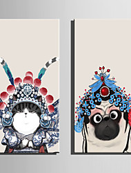 E-HOME Stretched Canvas Art Lovely Peking Opera Animals Decoration Painting One Pcs