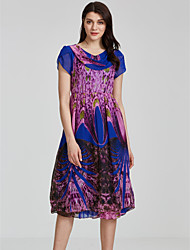 Women's Casual/Daily Holiday Vintage Swing Dress,Print Round Neck Midi Short Sleeve Polyester Spring High Rise Inelastic Thin