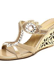 Femme-Mariage Habillé Décontracté Soirée & Evénement--Talon Plat Talon Compensé-Confort Nouveauté A Bride Arrière club de Chaussures-