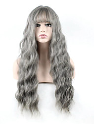 Long Natural Wave Wigs Women Cosplay Wig Grey Color Synthetic Hair High Temperature