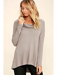 Damen Solide Einfach Lässig/Alltäglich T-shirt,Kapuze Langarm Baumwolle