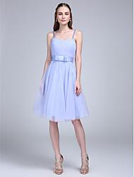 2017 lanting robe bride® genou tulle de demoiselle d'honneur - une ligne bretelles spaghetti avec l'arc (s)