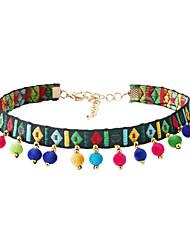 Жен. Ожерелья-бархатки Круглой формы Ткань Богемия Стиль Euramerican Белый Темно-зеленый Бижутерия Для Для вечеринок 1 шт.