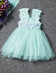 Baby Girls Summer Lace Chiffon Rose Sleeveless Princess Dress